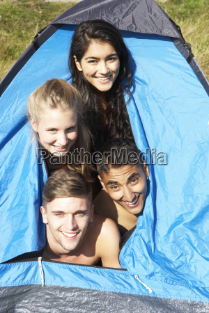 young couples on camping trip in