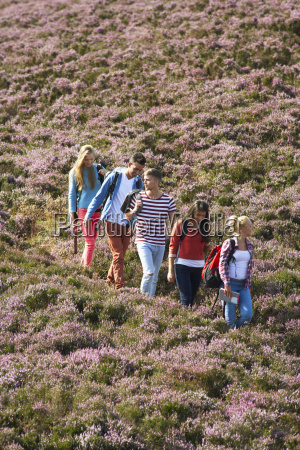 group of young people hiking through
