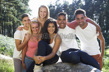 group of young people relaxing in