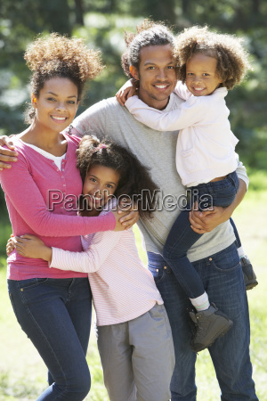portrait of family group in countryside