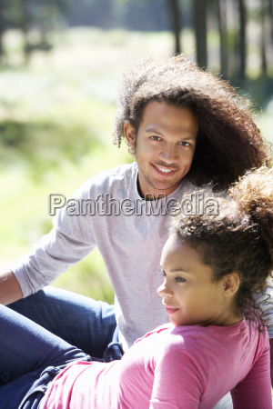 portrait of romantic young couple in