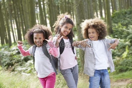 three children exploring woods together