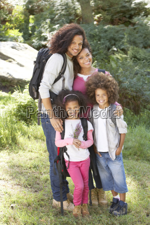 family, group, hiking, in, woods, together - 19408798