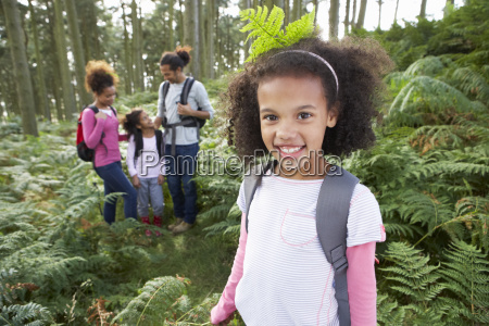 family, group, hiking, in, woods, together - 19408984
