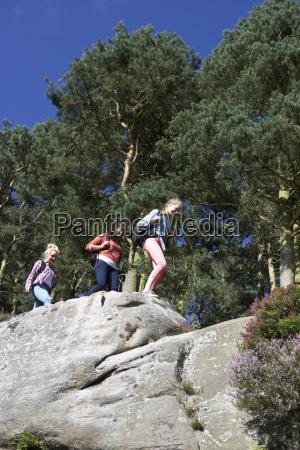 group, of, teenage, girls, hiking, in - 19408672