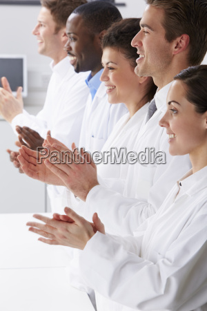 technician, and, colleagues, in, laboratory, clapping - 19408246