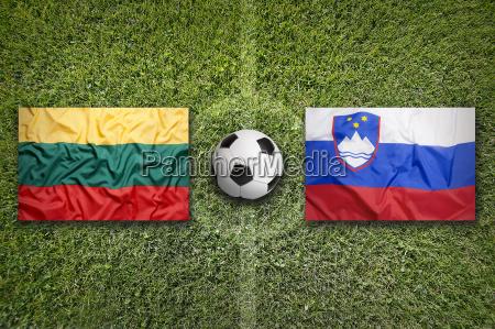 lithuania vs slovenia flags on soccer