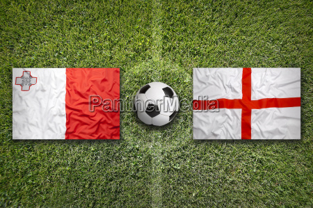 malta vs england flags on soccer