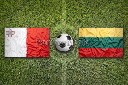 malta vs lithuania flags on soccer
