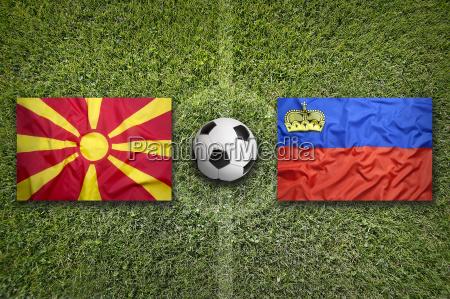 liechtenstein vs macedonia flags on soccer