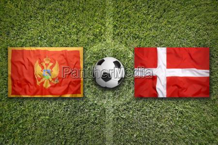 montenegro vs denmark flags on soccer