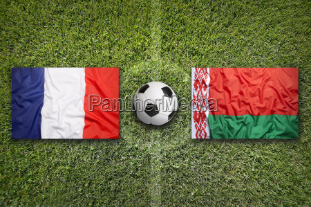 france vs belarus flags on soccer