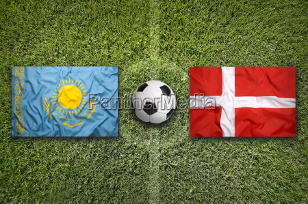 kazakhstan vs denmark flags on soccer