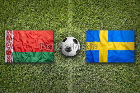 belarus vs sweden flags on soccer