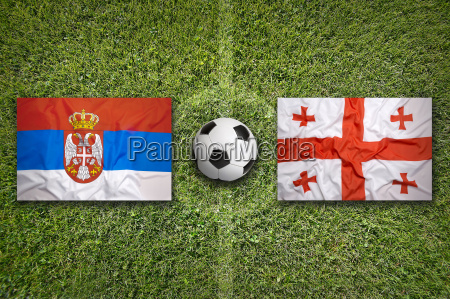 serbia vs georgia flags on soccer