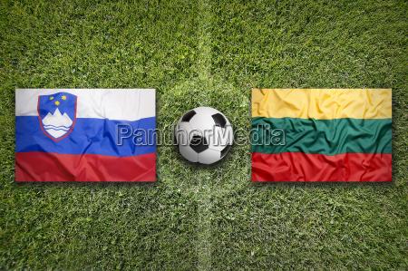 slovenia vs lithuania flags on soccer