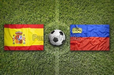 spain vs liechtenstein flags on soccer