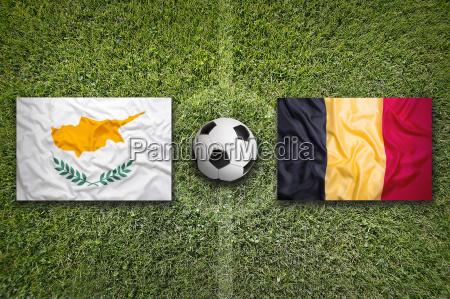 cyprus vs belgium flags on soccer