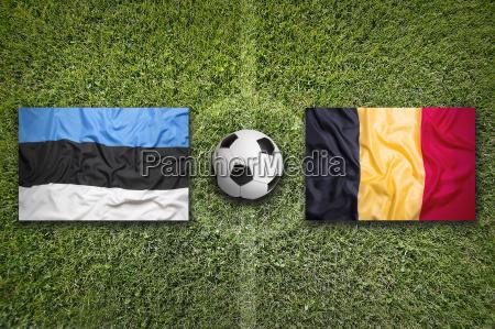 estonia vs belgium flags on soccer