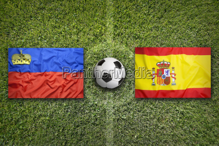 liechtenstein vs spain flags on soccer