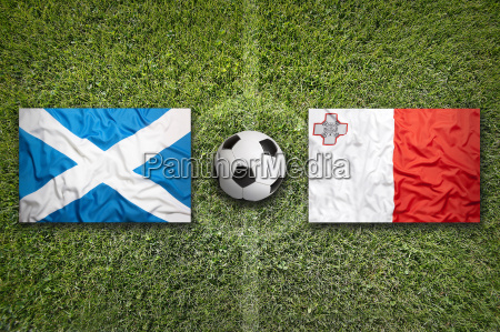scotland vs malta flags on soccer