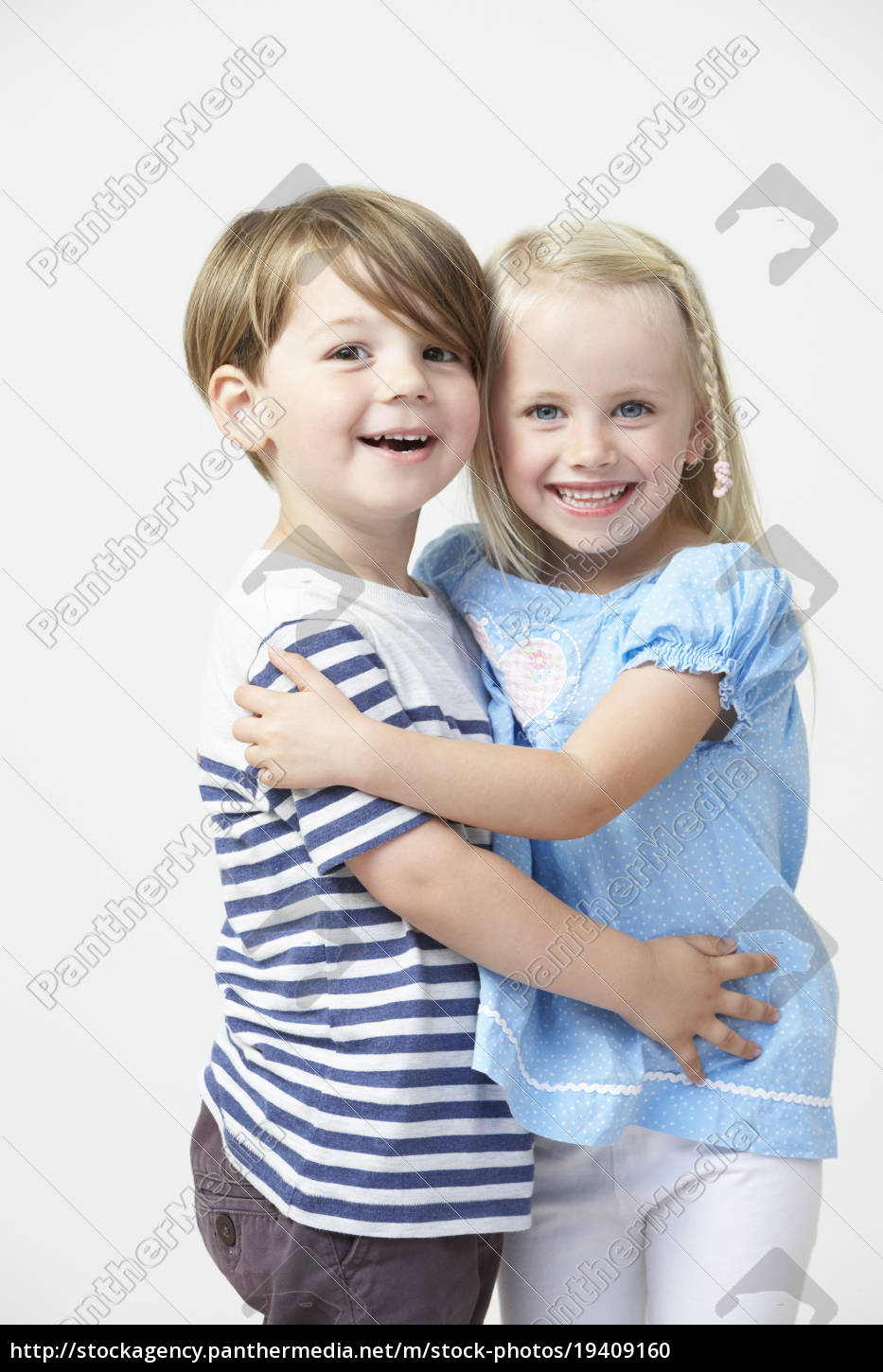 two, pre, school, pupils, hugging, one - 19409160