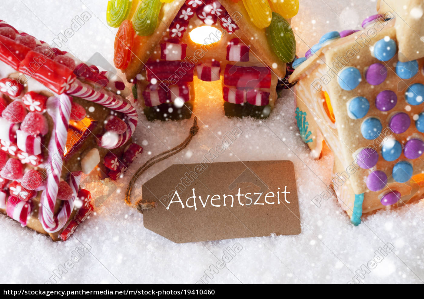 colorful, gingerbread, house, , snowflakes, , adventszeit, means - 19410460