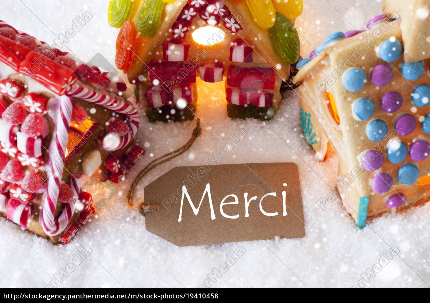 colorful, gingerbread, house, , snowflakes, , merci, means - 19410458