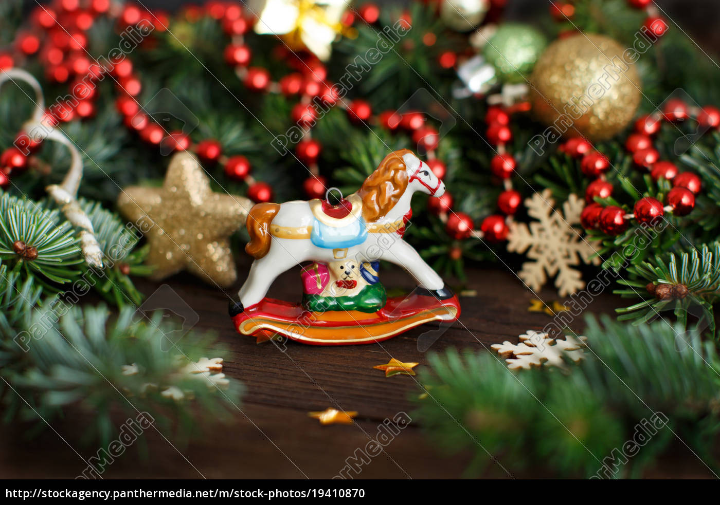 festive, decorations, with, , rocking, horse, - 19410870