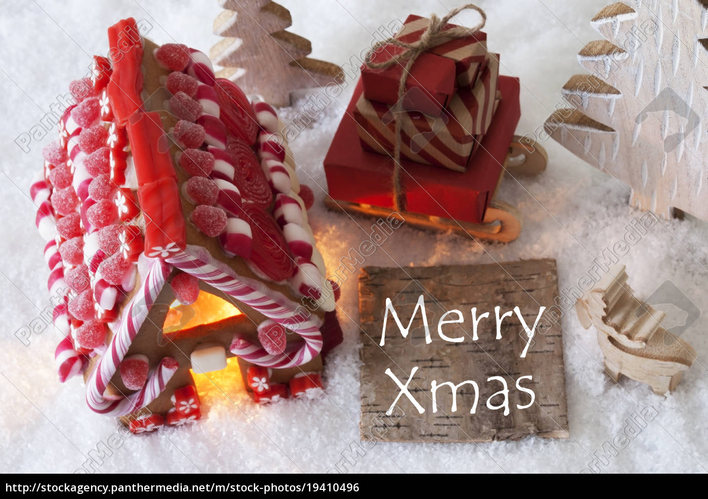 gingerbread, house, , sled, , snow, , text, merry - 19410496