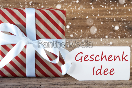 present, with, snowflakes, , text, geschenk, idee - 19410524