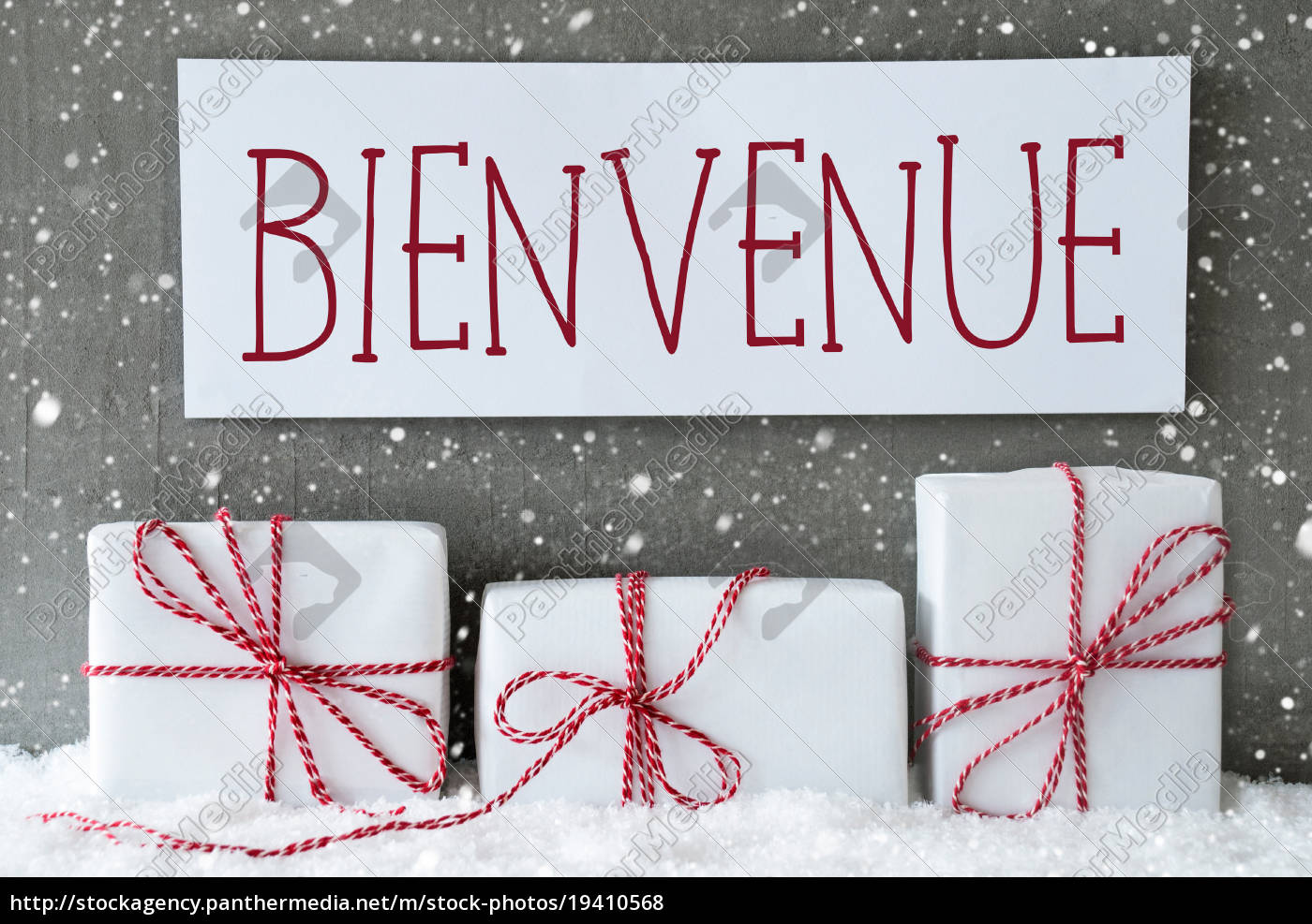 white, gift, with, snowflakes, , bienvenue, means - 19410568