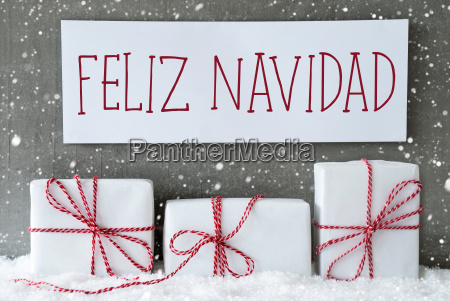 white, gift, with, snowflakes, , feliz, navidad - 19410570