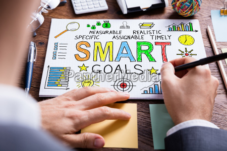businessperson drawing smart goal concept on