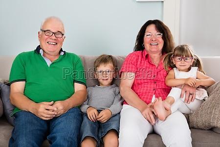 grandparents, and, grandchildren, wearing, glasses - 19412656