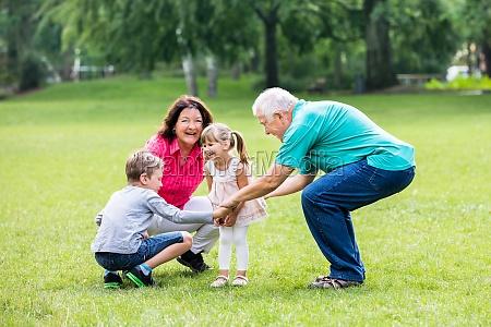 happy, grandparent, and, grandchildren, in, park - 19412700
