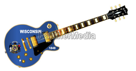 wisconsin state flag guitar