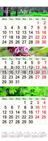 triple calendar for april june 2017