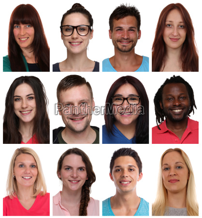 portrait collage multicultural young people people
