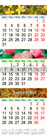 calendar for july august september 2017