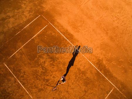aerial shot of a female tennis