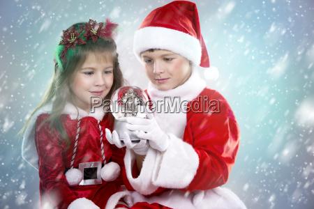 boy, and, girl, as, santa, and - 19420952