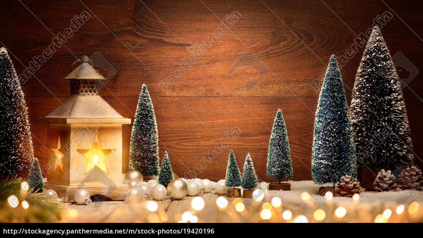 christmas, arrangement, with, lantern, trees, balls, and, lights, copy - 19420196