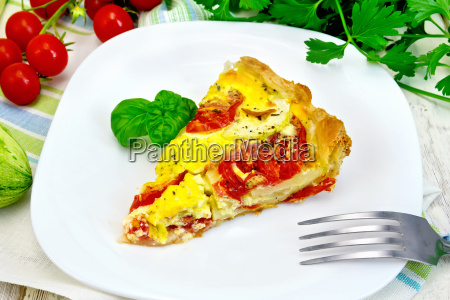 flan, with, tomato, and, zucchini, on - 19422170