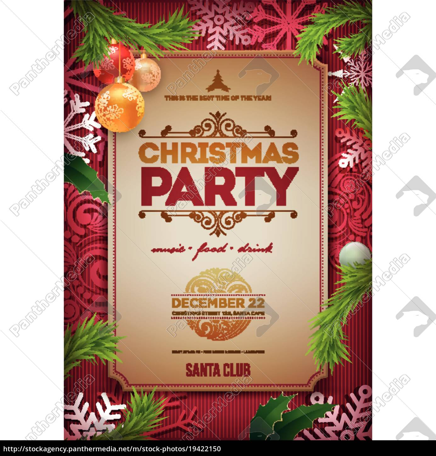 vector, christmas, party, poster, design, template. - 19422150