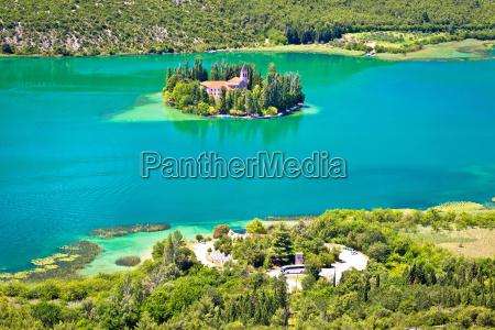island of visovac monastery in krka