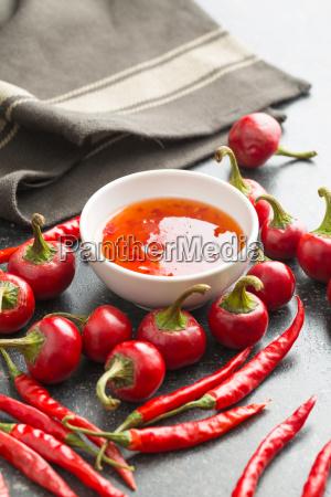 rod chili peber og chili sauce