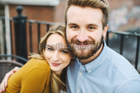portrait of romantic young couple on