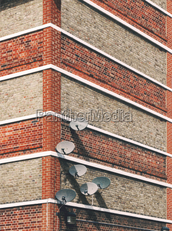 detail of satellite dishes attached to