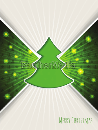 christmas greeting with bursting green christmas